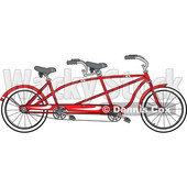 Cartoon Clipart of a Red Tandem Bicycle - Royalty Free Vector Illustration © djart #1409763