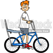 Cartoon Clipart of a Happy Red Haired Caucasian Boy Riding a Stingray Bicycle - Royalty Free Vector Illustration © djart #1409764