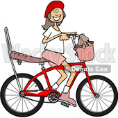 Cartoon Clipart of a Happy Brunette Caucasian Girl Riding a Stingray Bicycle - Royalty Free Vector Illustration © Dennis Cox #1409765