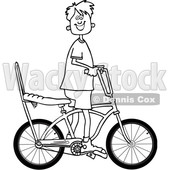 Cartoon Clipart of a Black and White Lineart Happy Boy Riding a Stingray Bicycle - Royalty Free Vector Illustration © djart #1409768