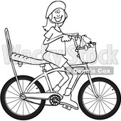 Cartoon Clipart of a Black and White Lineart Happy Girl Riding a Stingray Bicycle - Royalty Free Vector Illustration © djart #1409769