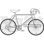 Clipart of a Black and White 10 Speed Bicycle - Royalty Free Vector Illustration © djart #1409931