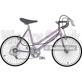 Clipart of a Purple 10 Speed Bicycle - Royalty Free Vector Illustration © djart #1409933