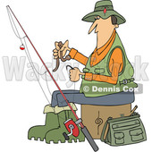 Clipart of a Cartoon Caucasian Fisherman Putting a Worm on a Hook - Royalty Free Vector Illustration © Dennis Cox #1411218