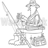 Clipart of a Cartoon Black and White Lineart Fisherman Putting a Worm on a Hook - Royalty Free Vector Illustration © djart #1411219