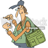 Clipart of a Cartoon Caucasian Fisherman Threading a Hook - Royalty Free Vector Illustration © djart #1411220