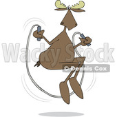 Clipart of a Cartoon Moose Skipping Rope - Royalty Free Vector Illustration © djart #1413982