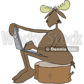 Clipart of a Cartoon Moose Sitting on a Tree Stump and Using a Laptop - Royalty Free Vector Illustration © djart #1413983