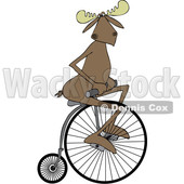 Clipart of a Cartoon Moose Riding a Penny Farthing Bicycle - Royalty Free Vector Illustration © Dennis Cox #1413984