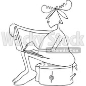 Clipart of a Cartoon Black and White Moose Sitting on a Tree Stump and Using a Laptop - Royalty Free Vector Illustration © Dennis Cox #1413987