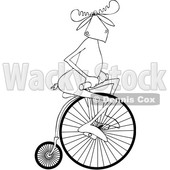 Clipart of a Cartoon Black and White Moose Riding a Penny Farthing Bicycle - Royalty Free Vector Illustration © djart #1413988
