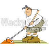 Clipart of a Cartoon Caucasian Man Using a Roller to Stain His Deck - Royalty Free Vector Illustration © Dennis Cox #1413991