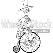 Clipart of a Cartoon Black and White Gentleman Riding a Penny Farthing Bicycle - Royalty Free Vector Illustration © Dennis Cox #1413993