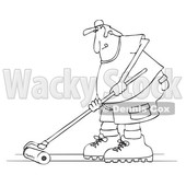 Clipart of a Cartoon Black and White Man Using a Roller to Stain His Deck - Royalty Free Vector Illustration © djart #1413994