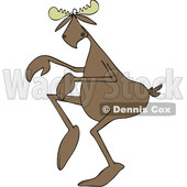 Clipart of a Cartoon Moose Sneaking Around - Royalty Free Vector Illustration © djart #1416174