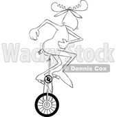 Clipart of a Cartoon Black and White Lineart Moose Riding a Unicycle - Royalty Free Vector Illustration © djart #1416176