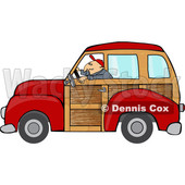 Clipart of a Cartoon Caucasian Man Driving a Red Woody Car - Royalty Free Vector Illustration © djart #1416179