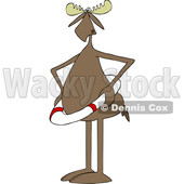 Clipart of a Cartoon Moose Wearing a Life Saver - Royalty Free Vector Illustration © djart #1417222