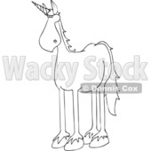 Clipart of a Cartoon Black and White Lineart Unicorn - Royalty Free Vector Illustration © djart #1417661