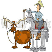 Clipart of a Cartoon Male Rancher Cowboy on a Horse, Roping a Texas Longhorn - Royalty Free Vector Illustration © djart #1417665
