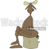 Clipart of a Cartoon Moose Sitting Cross Legged on a Log - Royalty Free Vector Illustration © djart #1417666