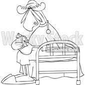 Clipart of a Cartoon Black and White Lineart Sleepy Moose Setting His Alarm Clock and Sitting on a Bed - Royalty Free Vector Illustration © djart #1418864