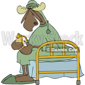 Clipart of a Cartoon Sleepy Moose Setting His Alarm Clock and Sitting on a Bed - Royalty Free Vector Illustration © djart #1418865
