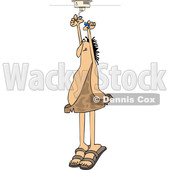 Clipart of a Cartoon Caveman Standing on His Tip Toes and Putting a Battery in a Smoke Detector - Royalty Free Vector Illustration © djart #1418869