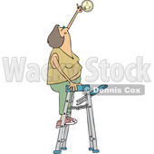 Clipart of a Cartoon Caucasian Woman Standing on a Ladder and Changing a Battery in a Smoke Detector - Royalty Free Vector Illustration © djart #1418874
