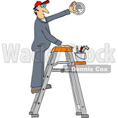 Clipart of a Cartoon Caucasian Maintenance Worker Man on a Ladder, Installing a Smoke Detector - Royalty Free Vector Illustration © Dennis Cox #1418875