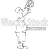 Clipart of a Cartoon Black and White Lineart Chubby African Man Putting a New Battery in a Smoke Detector - Royalty Free Vector Illustration © djart #1419197