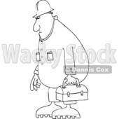 Clipart of a Cartoon Black and White Lineart Chubby Male Worker Wearing Coveralls and Carrying a Lunch Box - Royalty Free Vector Illustration © djart #1419202