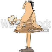 Clipart of a Cartoon Chubby Caveman Spreading Peanut Butter on Toast - Royalty Free Vector Illustration © Dennis Cox #1419317