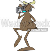 Clipart of a Cartoon Moose Listening to Music and Carrying a Boom Box on His Shoulder - Royalty Free Vector Illustration © djart #1419319