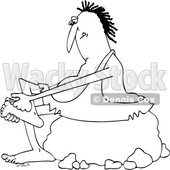 Clipart of a Cartoon Black and White Lineart Chubby Caveman Sitting on a Boulder and Clipping His Toe Nails - Royalty Free Vector Illustration © djart #1419360