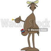 Clipart of a Cartoon Moose Holding a Lit Match - Royalty Free Vector Illustration © djart #1419366