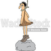 Clipart of a Cartoon Caveman Standing on a Boulder with a Noose Around His Neck - Royalty Free Vector Illustration © Dennis Cox #1421240
