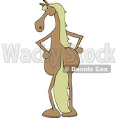 Clipart of a Cartoon Filly Horse Standing Upright, Rear View - Royalty Free Vector Illustration © djart #1421244