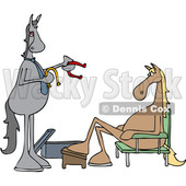 Clipart of a Cartoon Salesman and Horse Trying on Shoes - Royalty Free Vector Illustration © djart #1421246