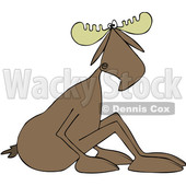 Clipart of a Cartoon Moose Sitting on the Ground and Leaning Forward - Royalty Free Vector Illustration © Dennis Cox #1421247