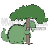 Big Green Dinosaur Hugging and Hiding Behind a Tree in Fear Clipart Illustration © djart #14241