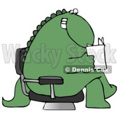 Grinning Green Dinosaur Sitting Cross Legged in a Chair in a Lobby and Reading a Book or Brochure Clipart Illustration © Dennis Cox #14242