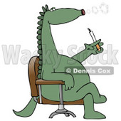 Green Dinosaur Sitting In A Chair And Blowing Out Circular Puffs Of Smoke While Smoking A Cigarette Clipart Illustration © Dennis Cox #14244