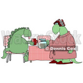 Female Wife Dinosaur in a Pink Robe, Curlers and Slippers, Serving Coffee to Her Exhausted Husband Who is Sitting at a Table in the Morning Clipart Illustration © Dennis Cox #14245