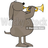 Musical Brown Spotted Dog Standing on His Hind Legs and Blowing While Playing a Golden Trumpet Clipart Picture © djart #14246
