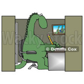 Green Dinosaur Sitting in a Chair at a Desk in an Employee Office Cubicle and Working Clipart Illustration © Dennis Cox #14247