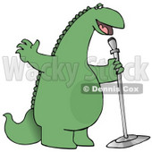 Green Comedian or Singing Dinosaur on Stage With a Microphone Clipart Illustration © djart #14248