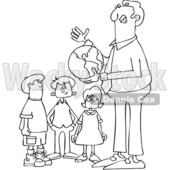 Clipart of a Cartoon Black and White Lineart Male Teacher Discussing Planet Earth and Holding a Globe with Students - Royalty Free Vector Illustration © djart #1424809