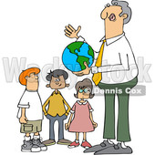 Clipart of a Cartoon Male Teacher Discussing Planet Earth and Holding a Globe with Students - Royalty Free Vector Illustration © Dennis Cox #1424810
