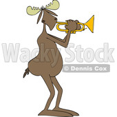 Clipart of a Cartoon Moose Playing a Trumpet - Royalty Free Vector Illustration © djart #1425394